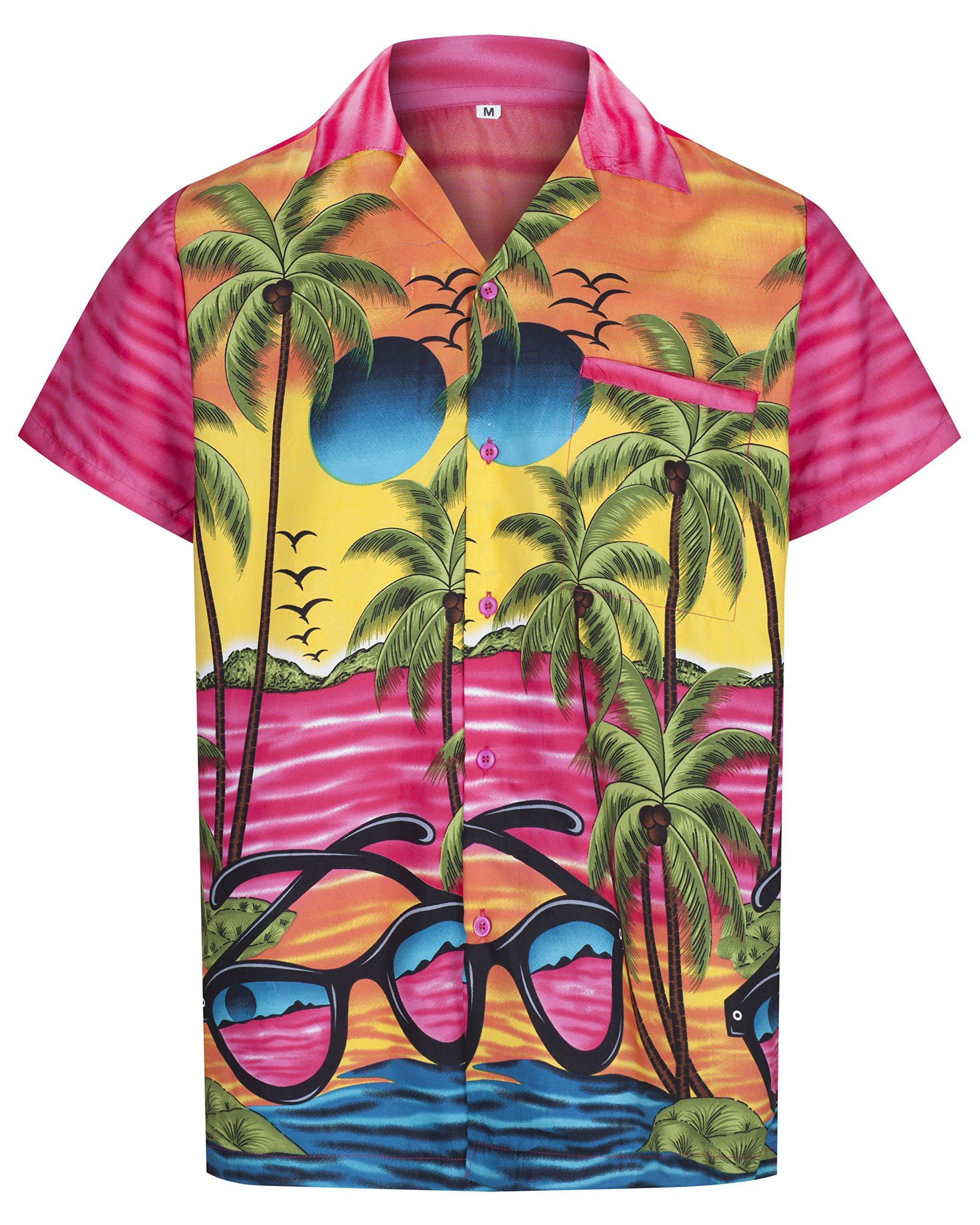REDSTAR Mens Hawaiian Shirt Casual Short Sleeve Beach Aloha Holiday Hawaii for Men Sunglasses Print (XXL, Pink)