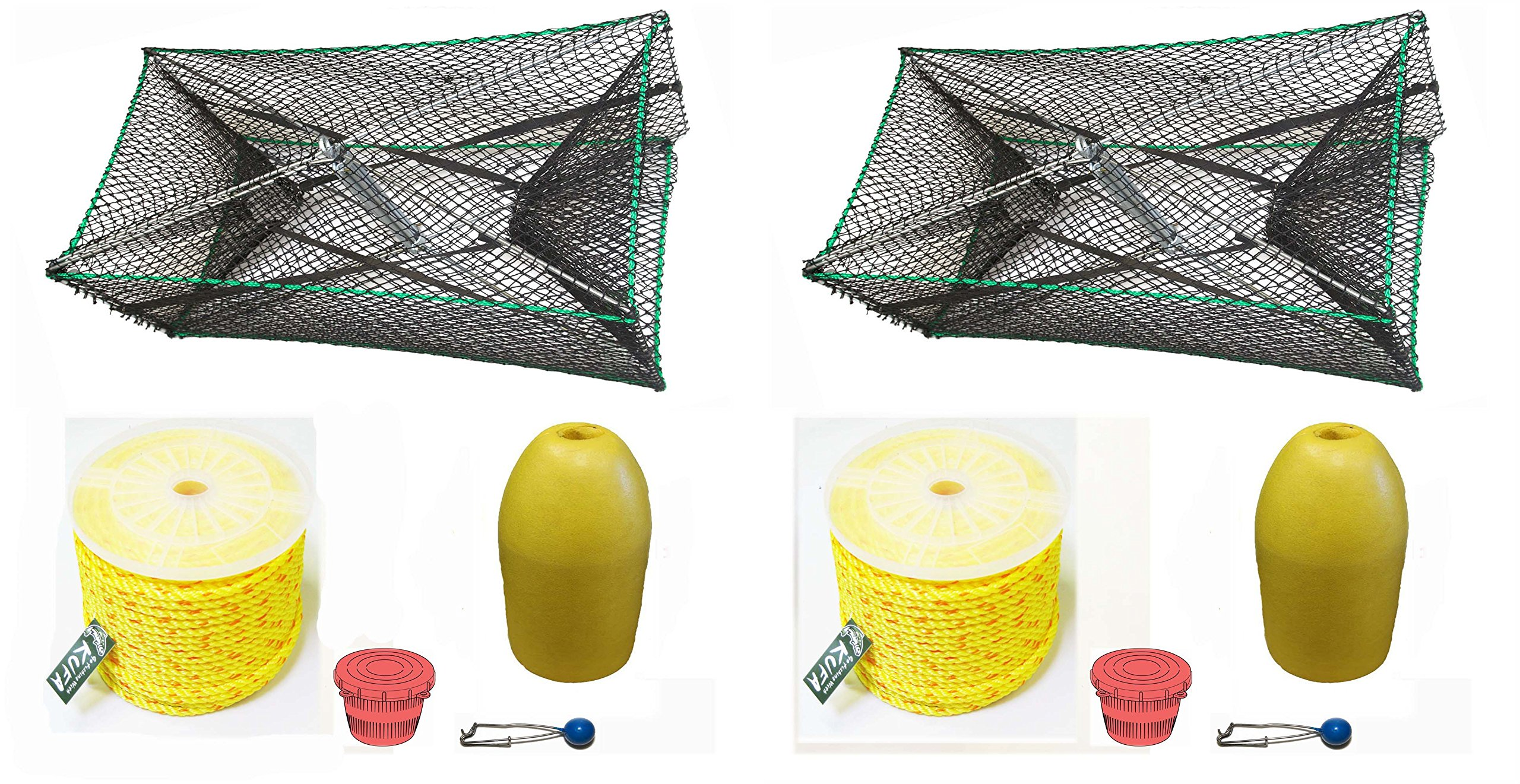 2-pack of KUFA Sports Galvanized Steel Foldable Prawn trap with 400' rope, Yellow float and Vented Bait Jar combo (S34+PAP3)x2K