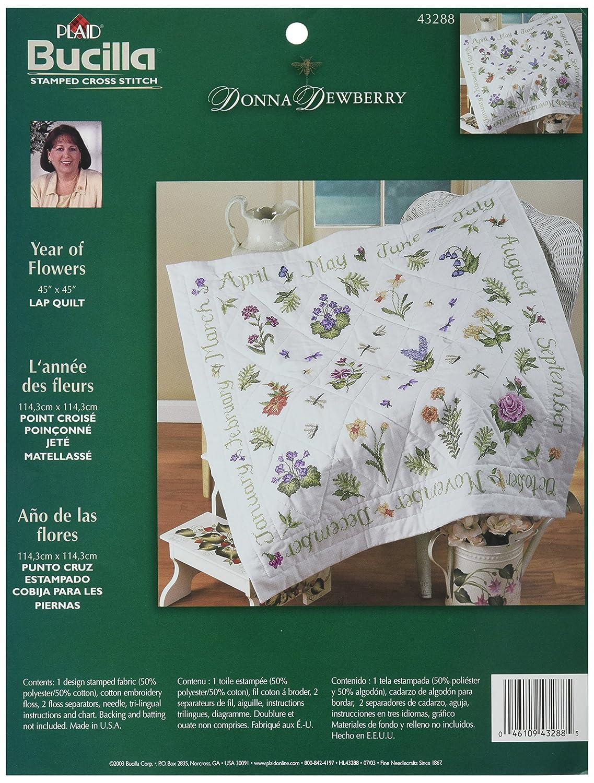 Amazon.com: Bucilla St&ed Cross Stitch Lap Quilt Kit, 40 by 40 ... : stamped cross stitch lap quilts - Adamdwight.com