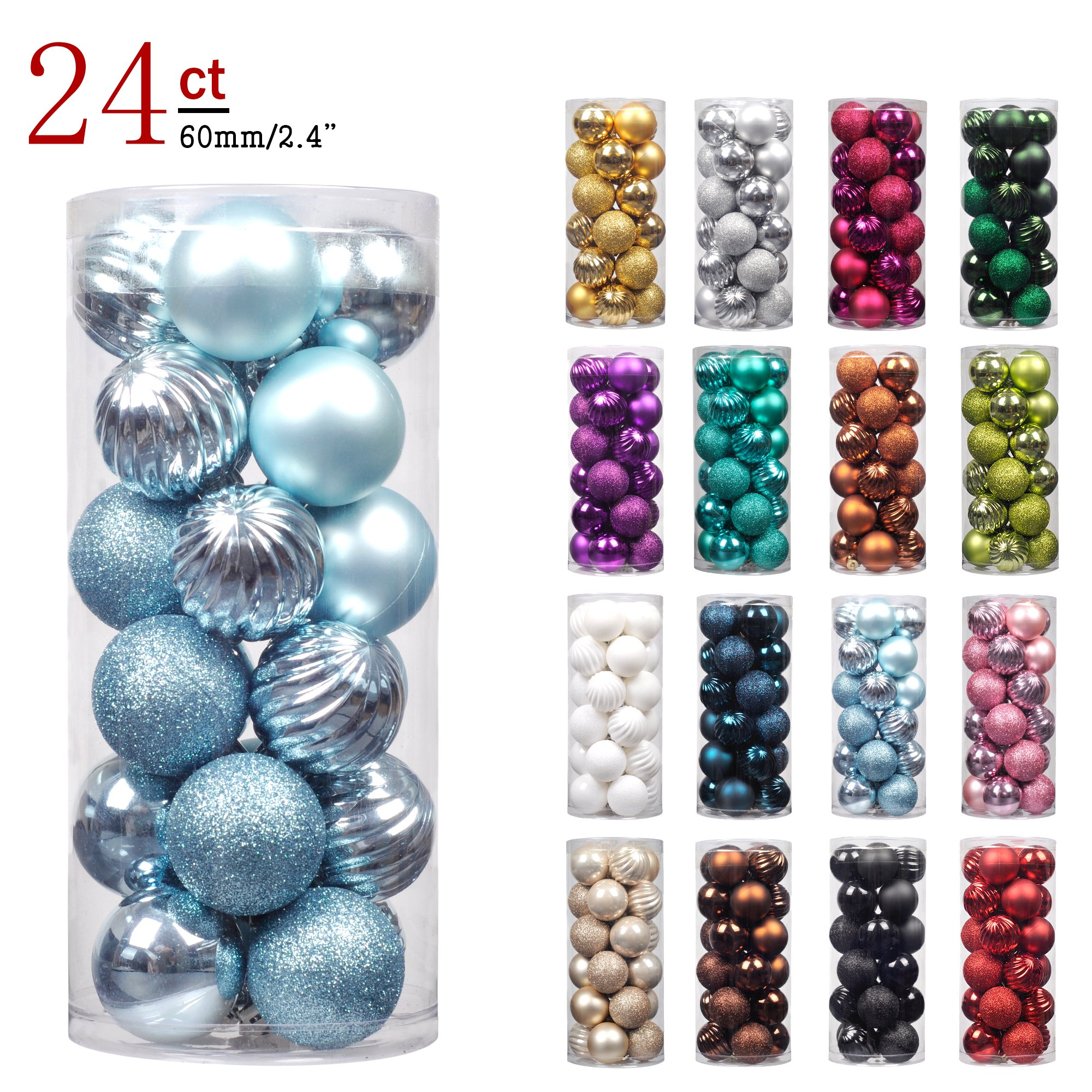 "KI Store 24ct Christmas Ball Ornaments Shatterproof Christmas Decorations Tree Balls Pastel for Holiday Wedding Party Decoration, Tree Ornaments Hooks included 2.36"" (60mm Baby Blue) by KI Store"