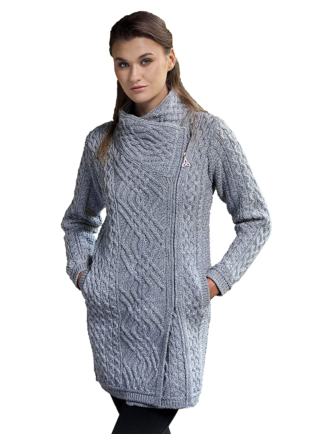 Soft Grey Aran Crafts Cable Knit Side Zip Coat (100% Merino Wool) in Wine, Grey, Army Green Colours