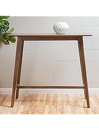 Margaret Natural Walnut Finish Wood Bar Table