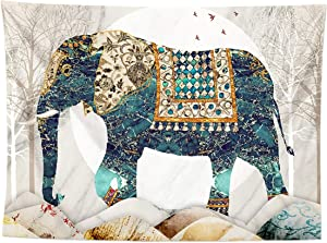 Elephant Forest Moon Tapestry,Trippy Hippie Boho Indie Aesthetic Wall Tapestry,High Quality and HD Pattern Wall Haning,Suitable for Bedrooms Living Rooms Studios Women Men Girls Boys ,59L*51W in,Blue