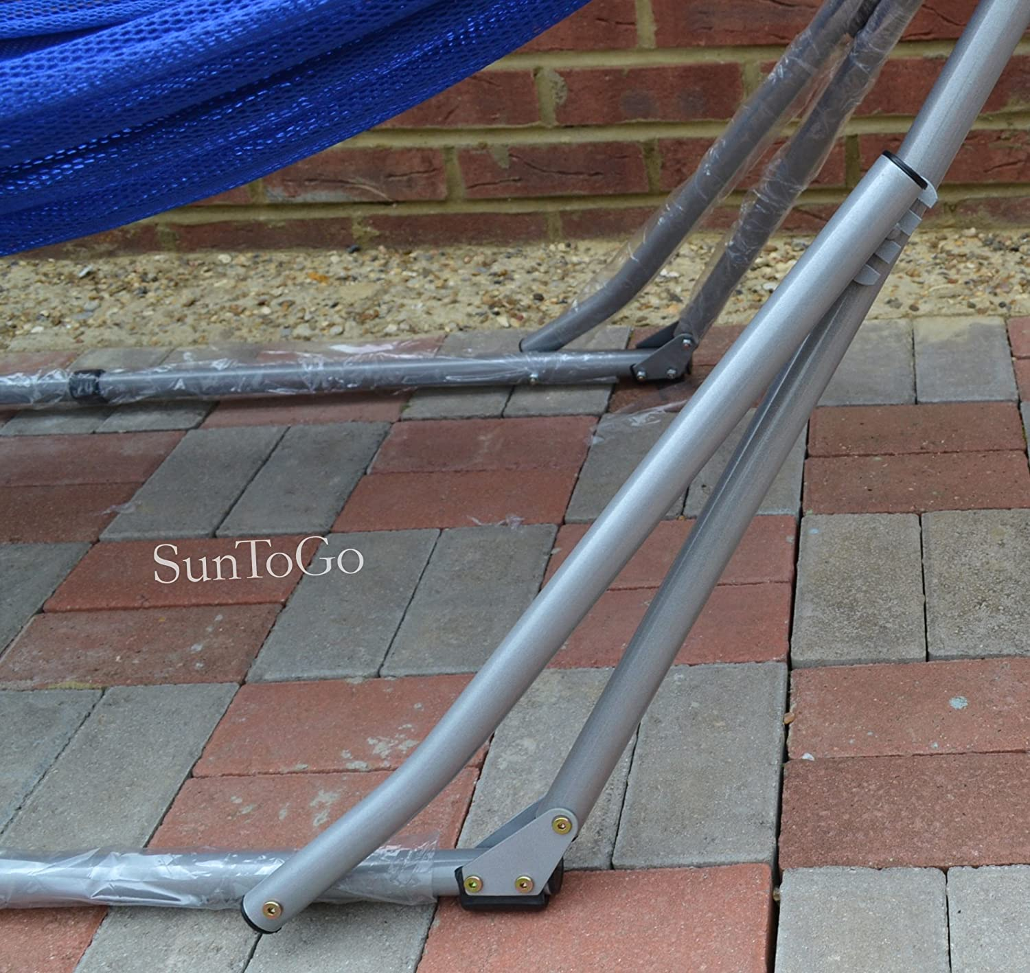 stand swing hammock is porch the metal foldable blue portable to also frame set furniture adorable your folding cloth ideas spruce up with backyard perfect
