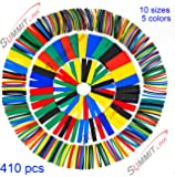 SummitLink 410 Pcs Assorted Heat Shrink Tubing Wrap Sleeve Set Combo Tube 5 Colors 10 Sizes