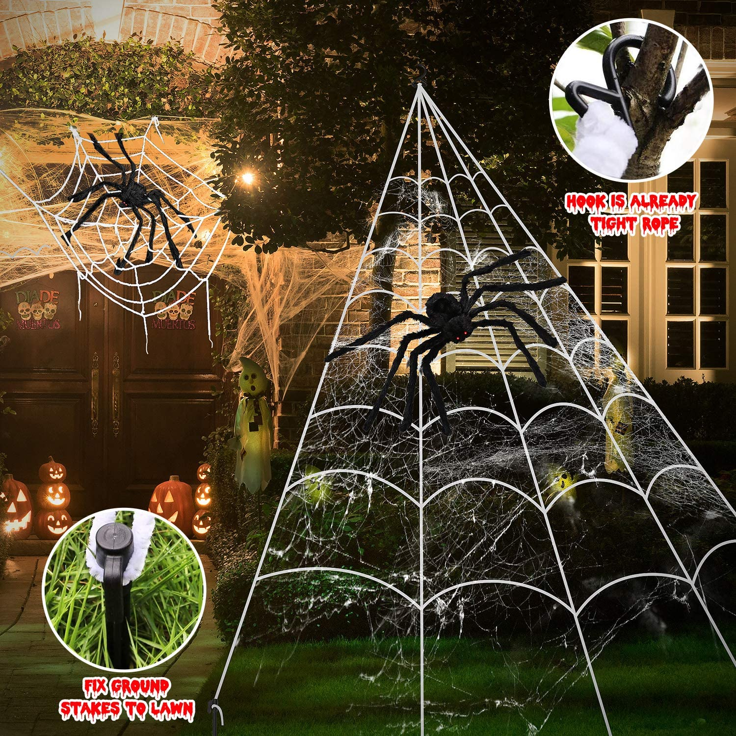 Halloween Decorations, 2Pcs 50'' Giant Spider + 200'' Triangular Spider Web and 100'' Round Spider Web, with Hook, Stretch Web and Ground Stakes for Indoor Outdoor Halloween Decor Haunted House Props: Garden & Outdoor