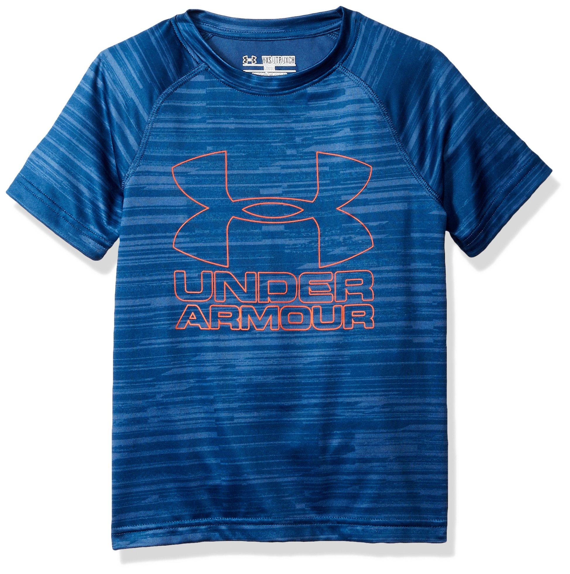 Under Armour Boys Big Logo Printed T-Shirt,Blackout Navy /Dark Orange, Youth X-Small