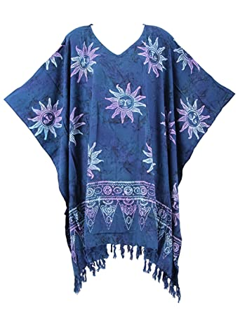 0414111365 Beautybatik Dark blue Batik Caftan Kaftan Tunic Top Blouse 3X at Amazon  Women's Clothing store: