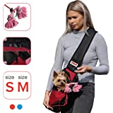 LUMAR Pet Sling Carrier for Dogs Two Size Adjustable S:1-5 Lbs M:6-13 Lbs The Only One Adapted Also for Car Seatbelt…