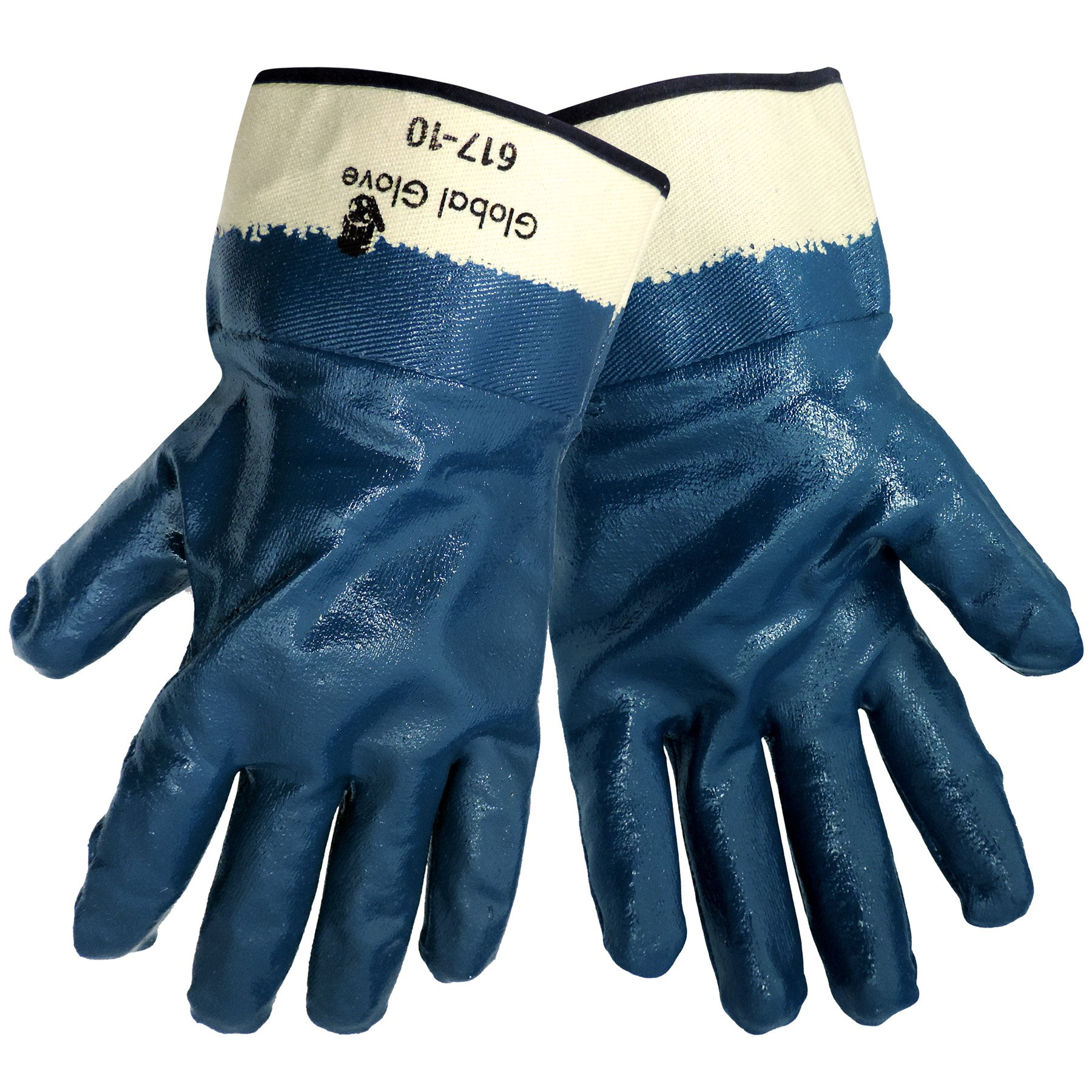 Global Glove 617 Fully Nitrile Dipped on 2 Piece Jersey Liner Glove with Safety Cuff, Chemical Resistent, Extra Large, Light Blue (Case of 72)