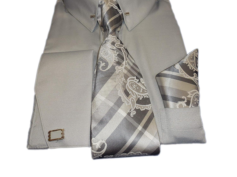 Karl Knox SX4401 Mens Silver Gray French Cuff Dress Shirt Pin Collar Bar Plaid Tie