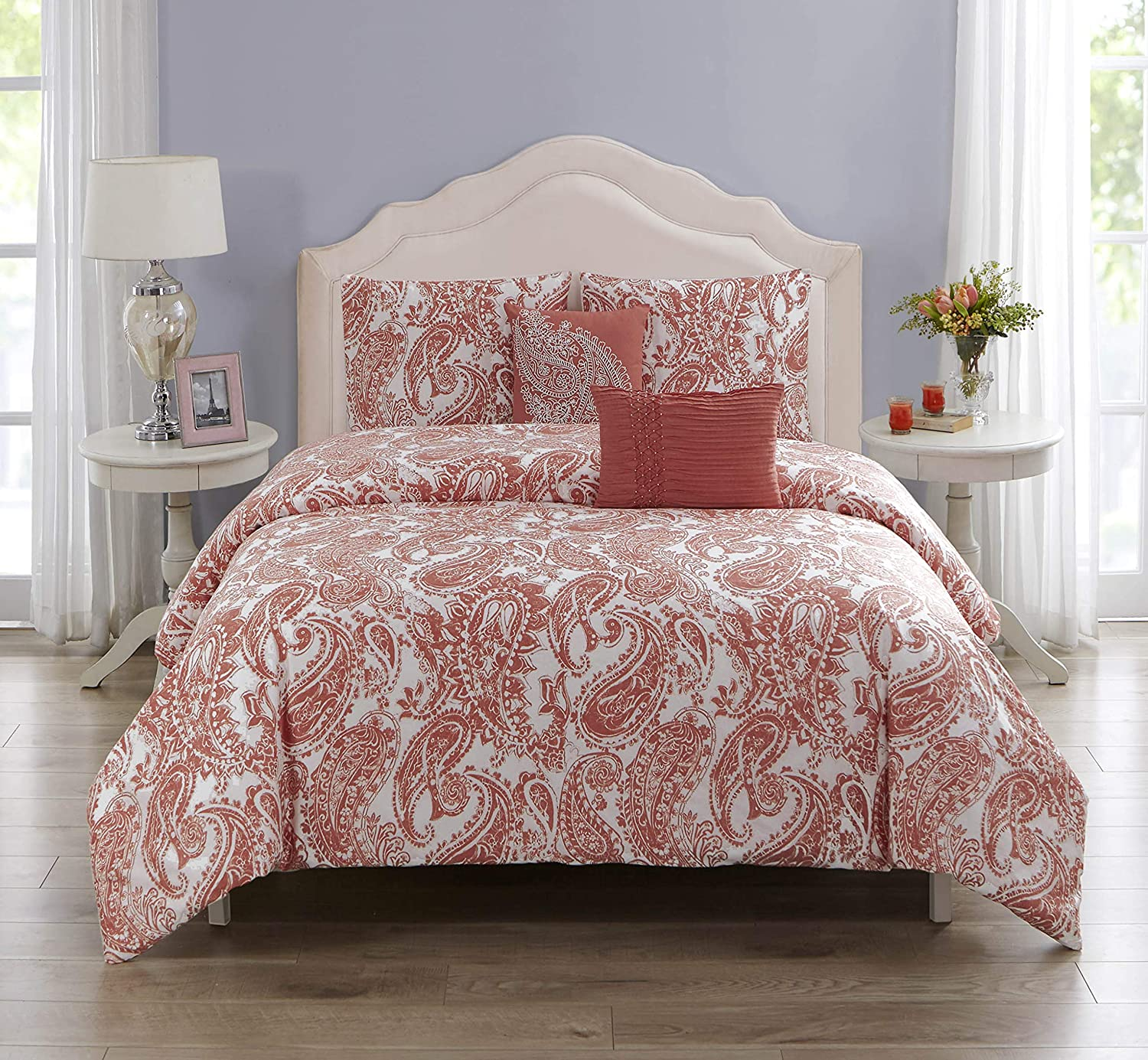Oversized Comforter Overfilled with Down Alternative 2 Pillows Pintuck Luxury Comforter with 2 Shams Wonder Home 5-pc 92x96 92x96 SD Wonder Cotton Shell Valentines Coral Paisley Comforter Set Queen