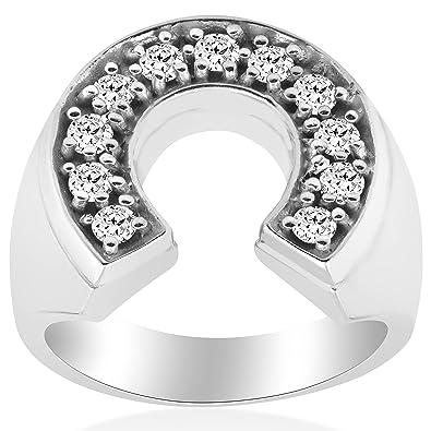 7db3ae04d43bf 3/4ct Mens Diamond Horseshoe Lucky Pinkie Ring 14K White Gold|Amazon.com