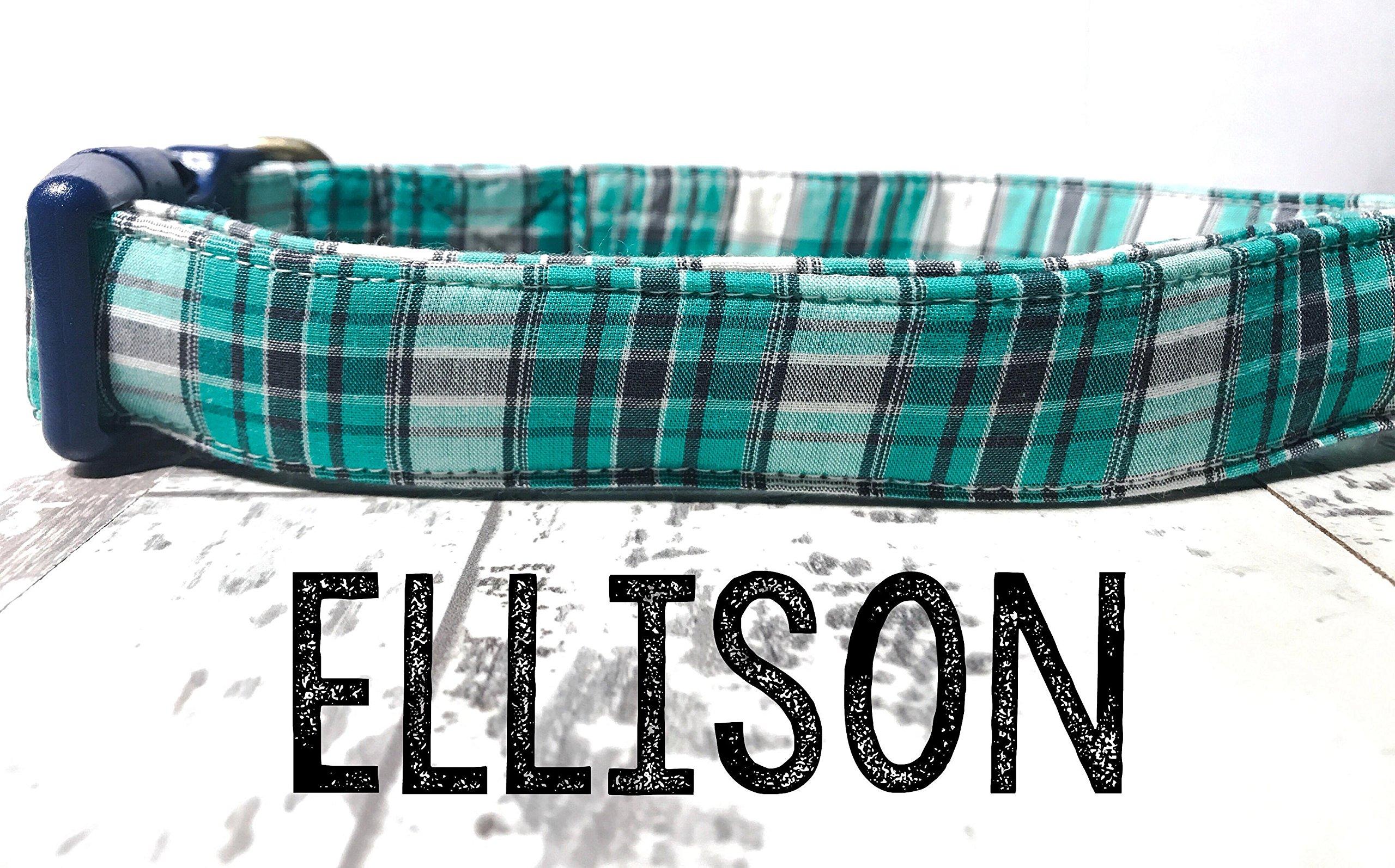 Ellison - Green Navy Blue White Preppy Nautical Plaid Organic Cotton Pet Collar