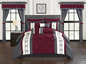 Chic Home Icaria 20 Piece Comforter Set, Queen, Red
