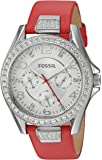 Fossil Women's ES4111 Riley Multifunction Red Leather Watch