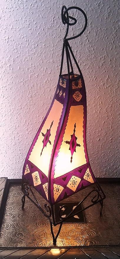 Lampara de mesa marroquí de Henna cuadrada color purpura y crema ...