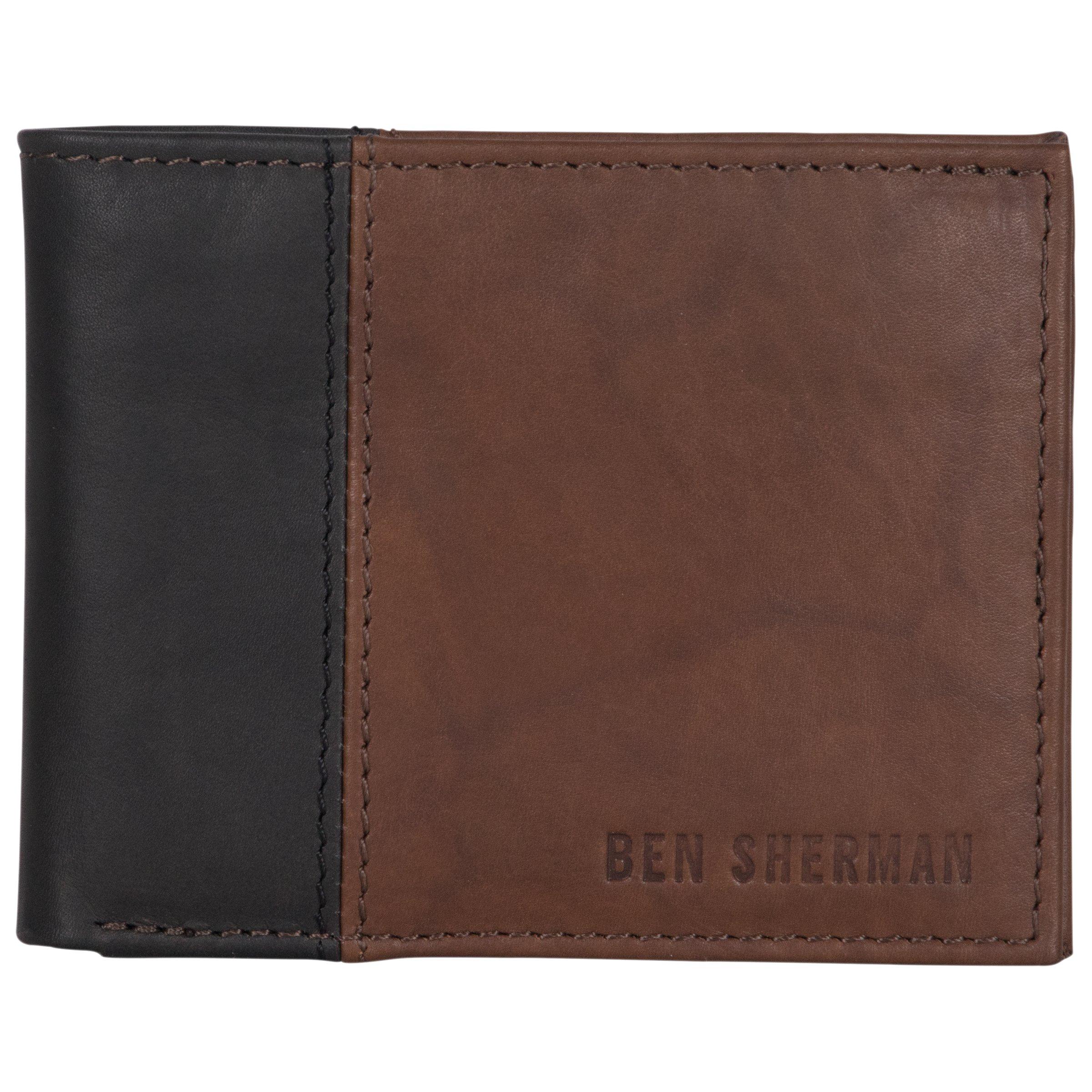 Ben Sherman Men's Leather Five Pocket Bi-Fold Wallet with Id Window (Rfid), Brown with Black Color Block