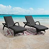 Ulax Furniture Outdoor Woven Padded 2-Pack Aluminum Chaise Lounge Armed Patio Lounger Adjustable Chair with Wheels and Quick Dry Foam