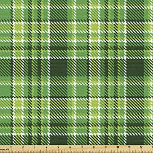 Ambesonne Checkered Fabric by The Yard, Old Fashioned Irish British Tile Mosaic in Vibrant Green Colors, Decorative Fabric for Upholstery and Home Accents, 3 Yards, Lime Green