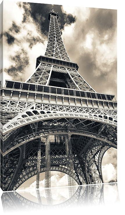 Soberbio Torre Eiffel en París sobre hochkantiges Lienzo, XXL enormes imágenes enmarcado con bastidor,
