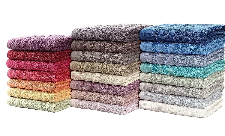Set Asciugamani Bagno Sfusi, Asciugamano, Ospite, Telo bagno, Tappeto. 100% cotone, 500 gr/mtq, Disponibile in 10 colori tinta unita. Gilania