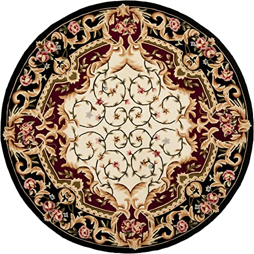 Safavieh Naples Collection NA508A Handmade Ivory and Black Wool Round Area Rug, 8 feet in Diameter 8 Diameter