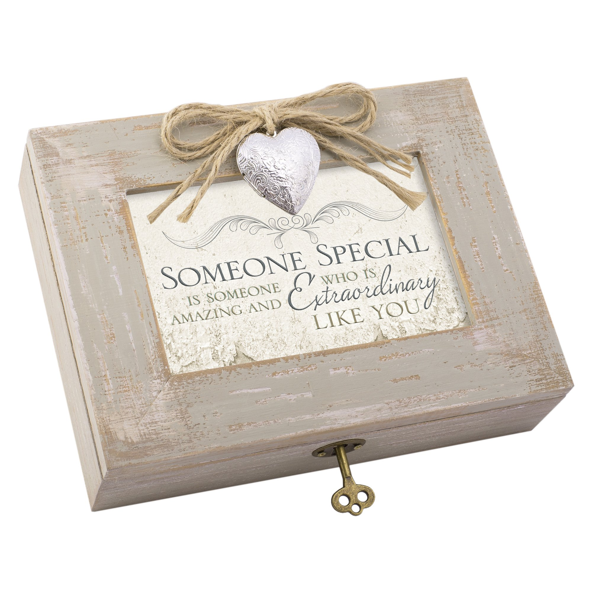 Someone Special Amazing Like You Distressed Wood Locket Jewelry Music Box Plays Tune Wonderful World
