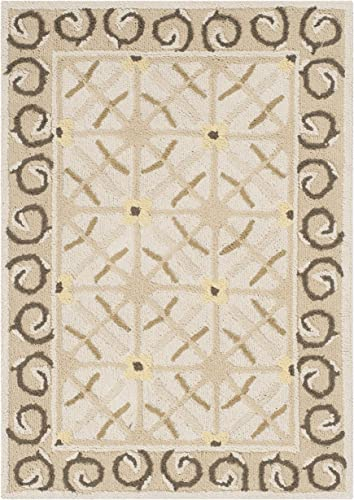 Safavieh Newport Collection NPT443C Hand-Hooked Taupe and Beige Cotton Area Rug 2 x 3