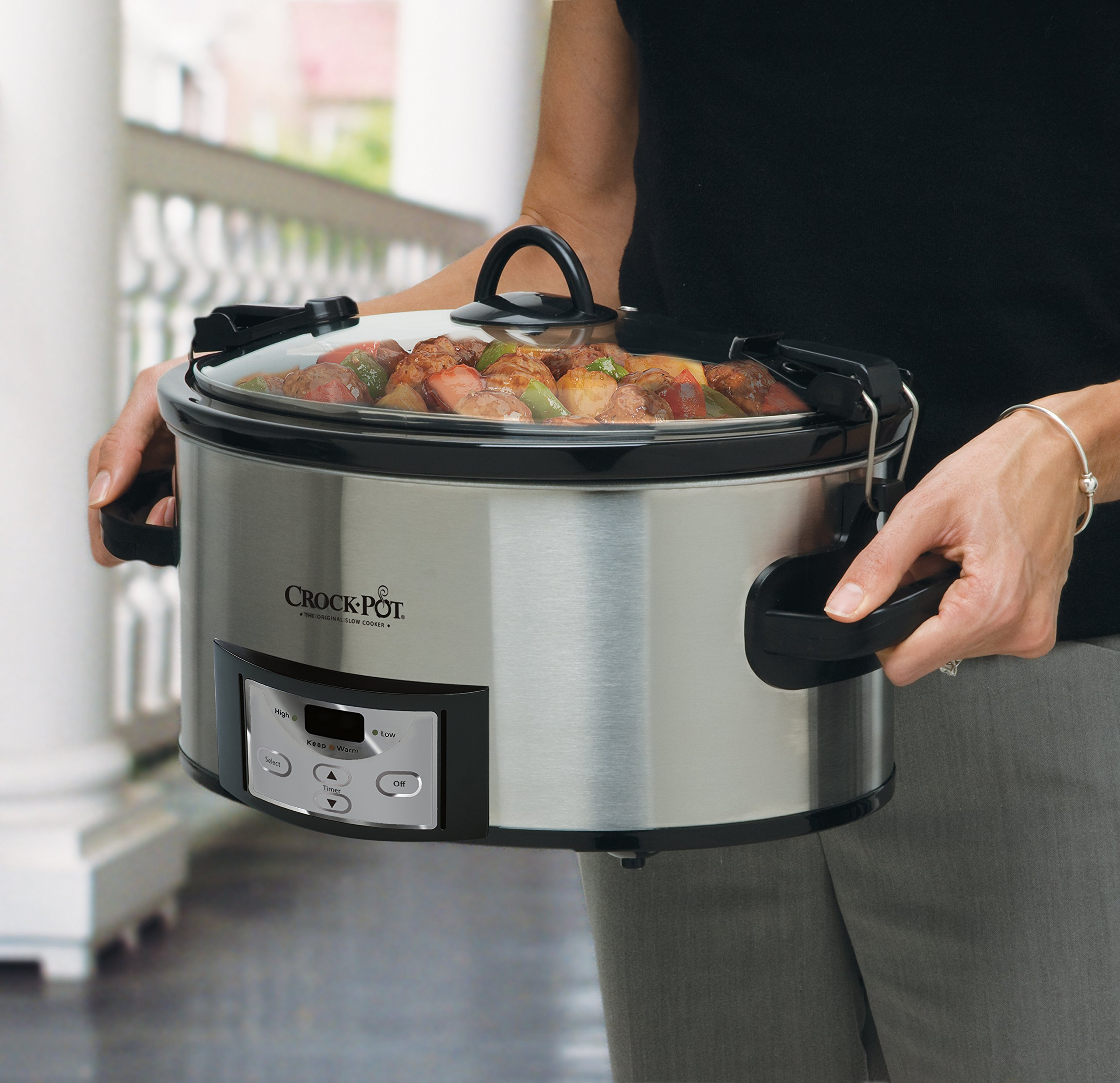 Crock-Pot 6-Quart Programmable Cook & Carry Slow Cooker with Digital Timer, Stainless Steel, SCCPVL610-S by Crock-Pot (Image #3)
