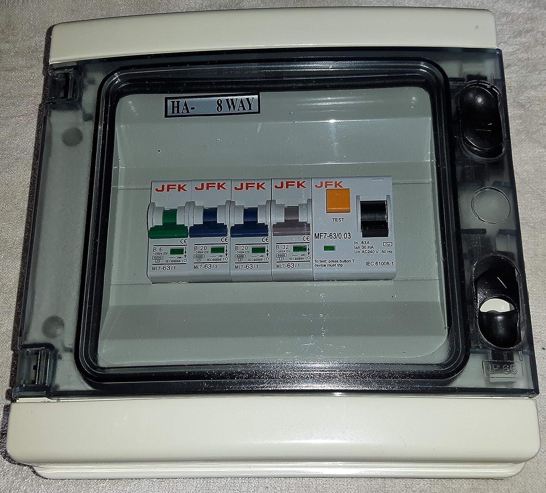 Garage Consumer Unit IP65 4 Way Fuse Box ed with RCD 63amp 30ma +  on
