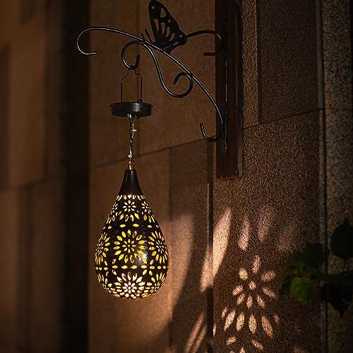 BOAER Hanging Solar Lights Outdoor Garden Boho LED Flower Waterproof Decorative Metal Light for Porch Garden Outdoor 2 Pack