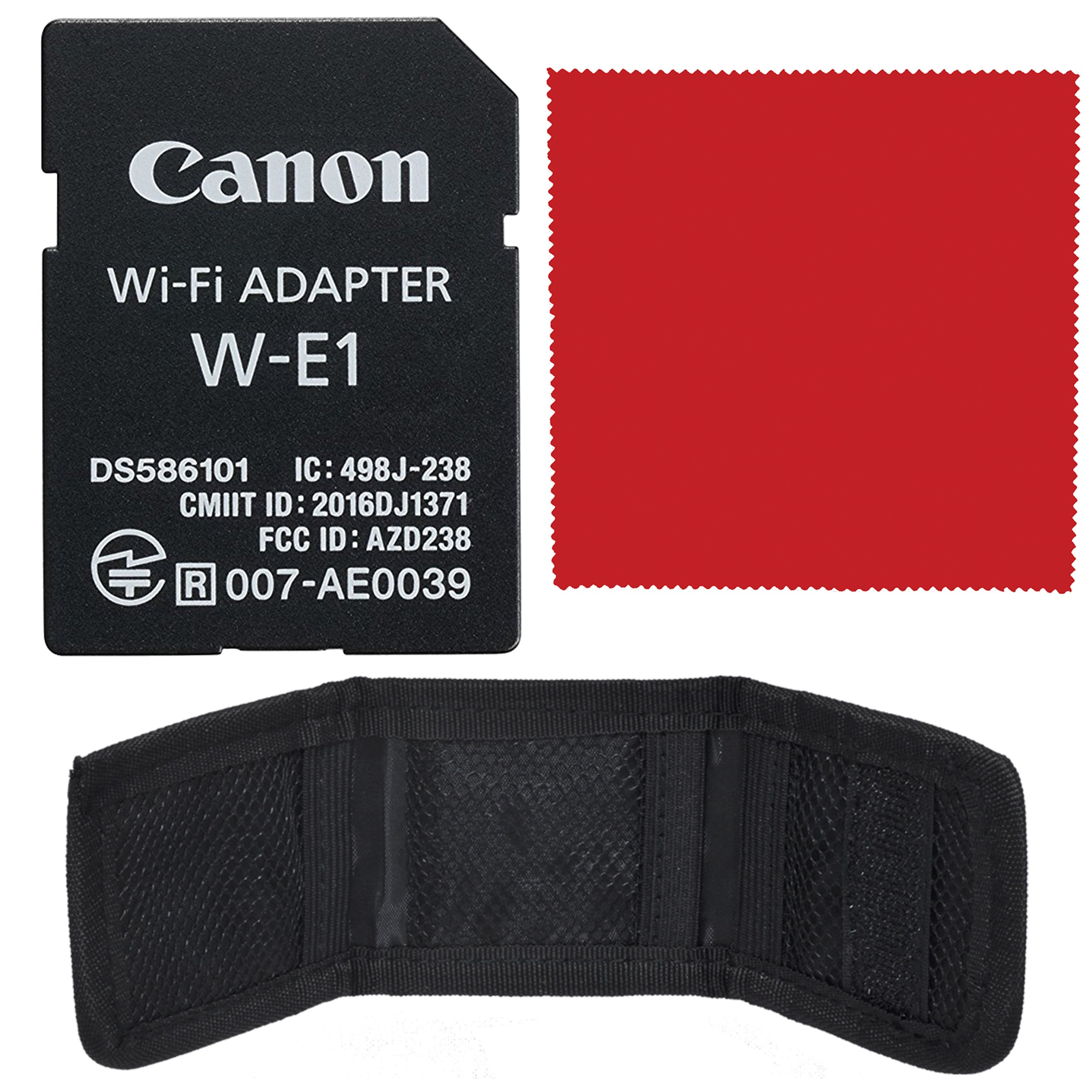 Canon Wi-Fi Adapter W-E1 (1716C001) Bundle with SD and CF Storage Wallet Pouch + Ultrasoft Microfiber Cleaning Cloth!