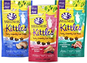 Wellness Kittles Cat Treat Variety Pack - 3 Flavors (Chicken & Cranberries, Salmon & Cranberries, and Tuna & Cranberries Flavors) - 2 oz Each (3 Total Pouches)