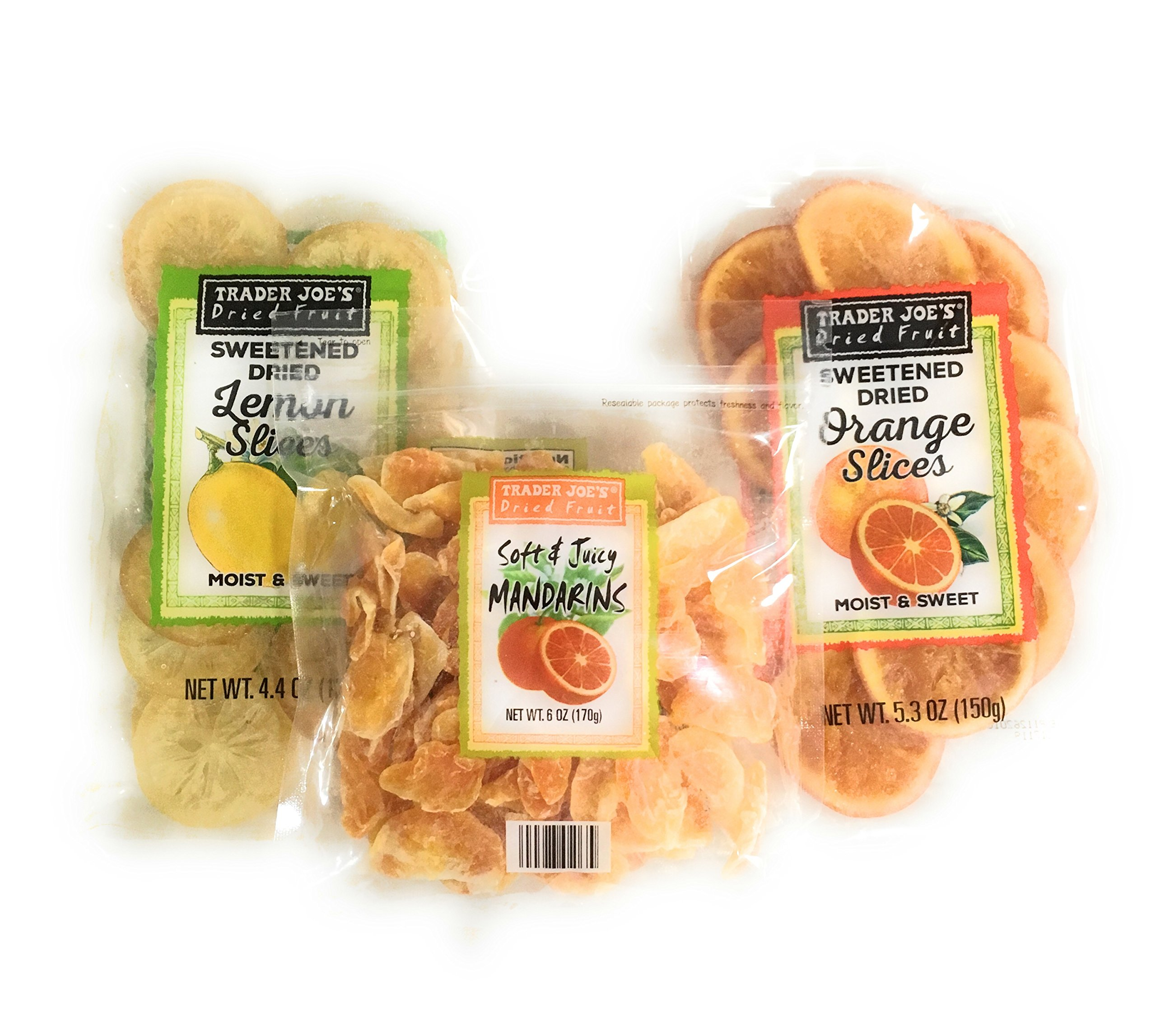 Trader Joes Dried Fruit Snack Bundle - Individual Variety Pack Featuring a Mix of Sweetened Lemon, Juicy Mandarin Orange, and Tasty Orange Slices - A Natural Healthy Snack for Adults and Kids by Trader Joe's