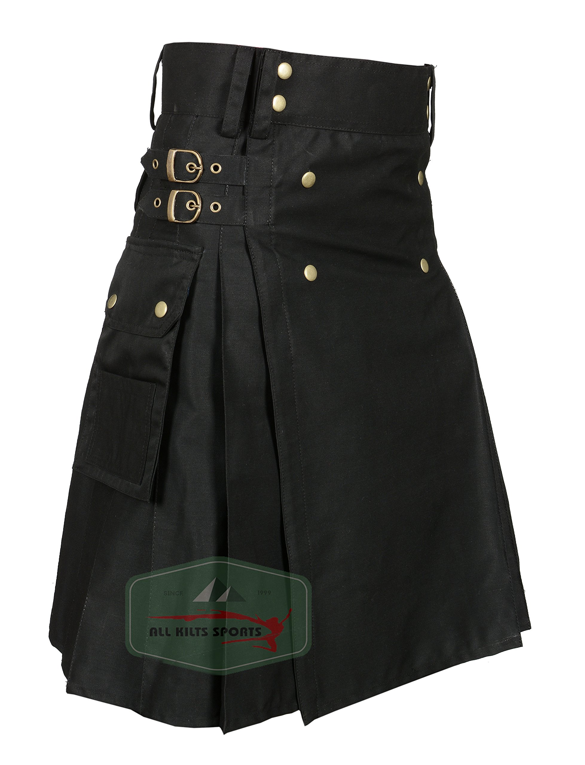 Men's Stylish Black Wedding Utility Kilt - Utility Kilts (40)