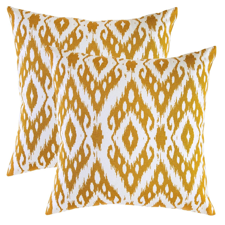 TreeWool - Pack de 2 - Ikat Ogee Diamante Decorativo fundas de cojín, 100% algodón (40 x 40 cm / 16 x 16 pulgadas; Mostaza)