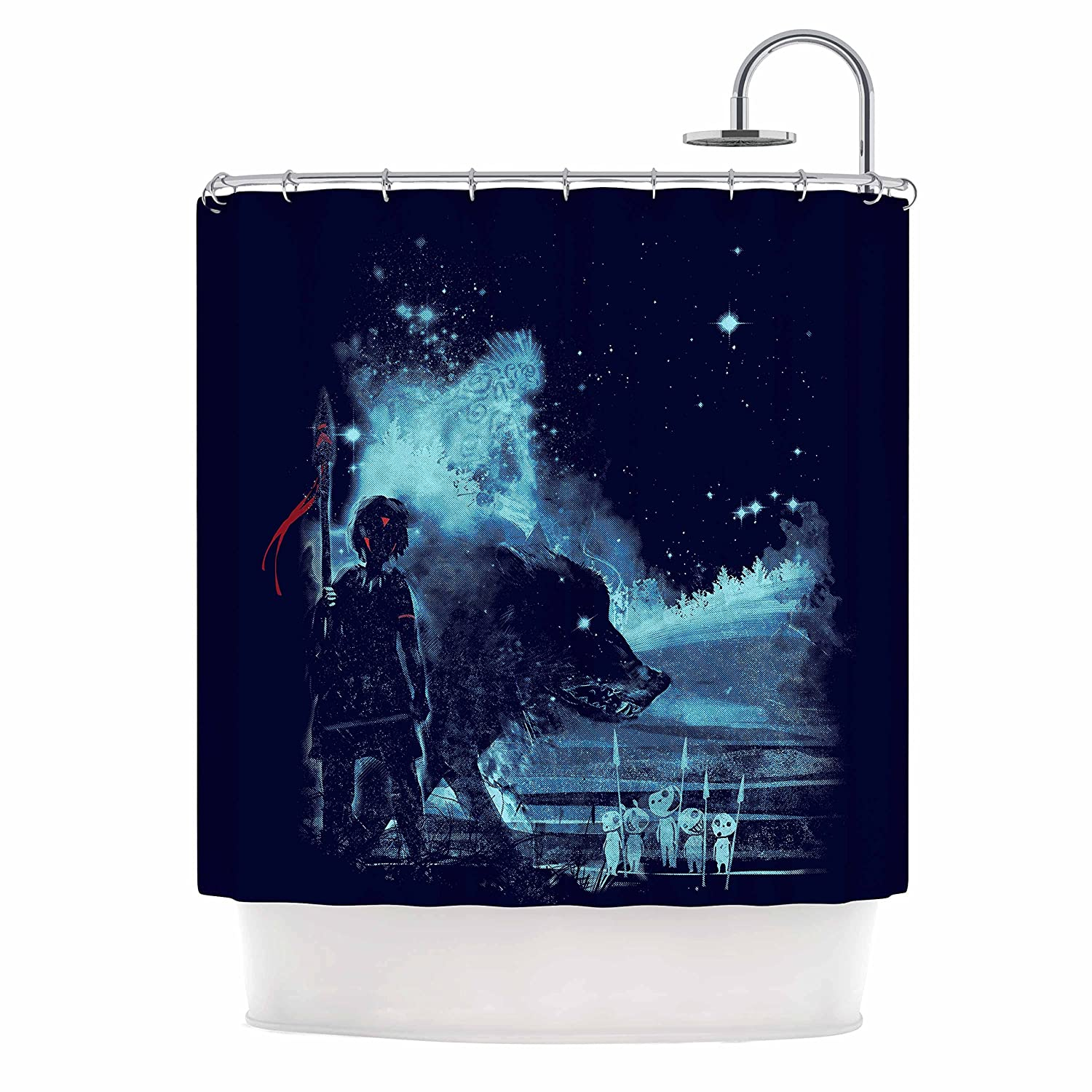 Kess InHouse Frederic Levy-Hadida Nature Defenders Blue Illustration 69 x 70 Shower Curtain