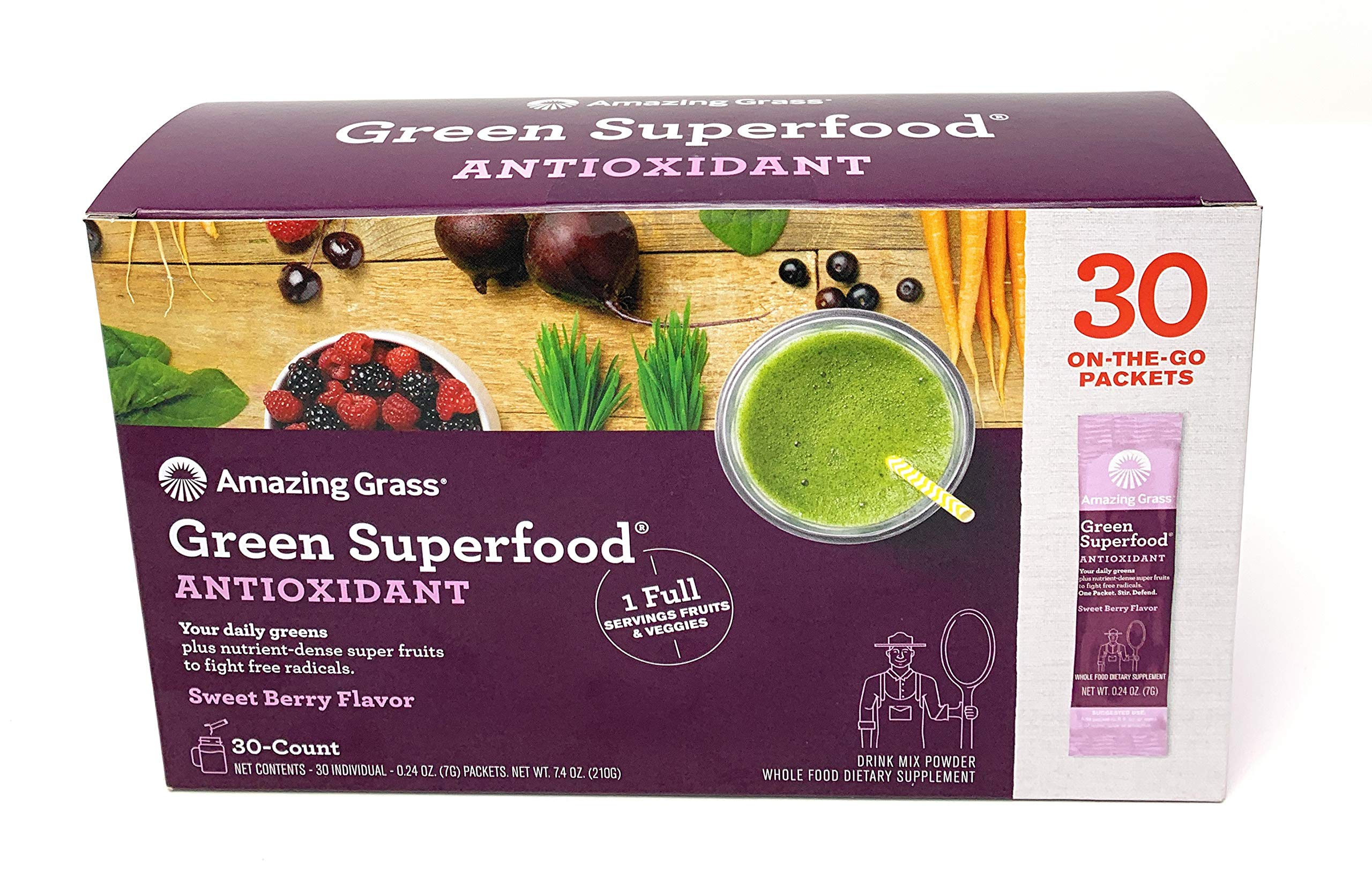 Amazing Grass Green Superfood Antioxidant Sweet Berry Flavor .Natural Energy;Promotes Detox;Helps Alkalize;Aids Digestion;Supports Immunity;Gluten Free;No Sugar Added;Plant Based;Non GMO.30 Packets by Amazing Grass