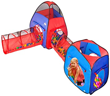 Kiddzery 4pc Kids Play tent Pop Up Ball Pit - 2 Tents + 2 Crawl Tunnels  sc 1 st  Amazon.com & Amazon.com: Kiddzery 4pc Kids Play tent Pop Up Ball Pit - 2 Tents ...