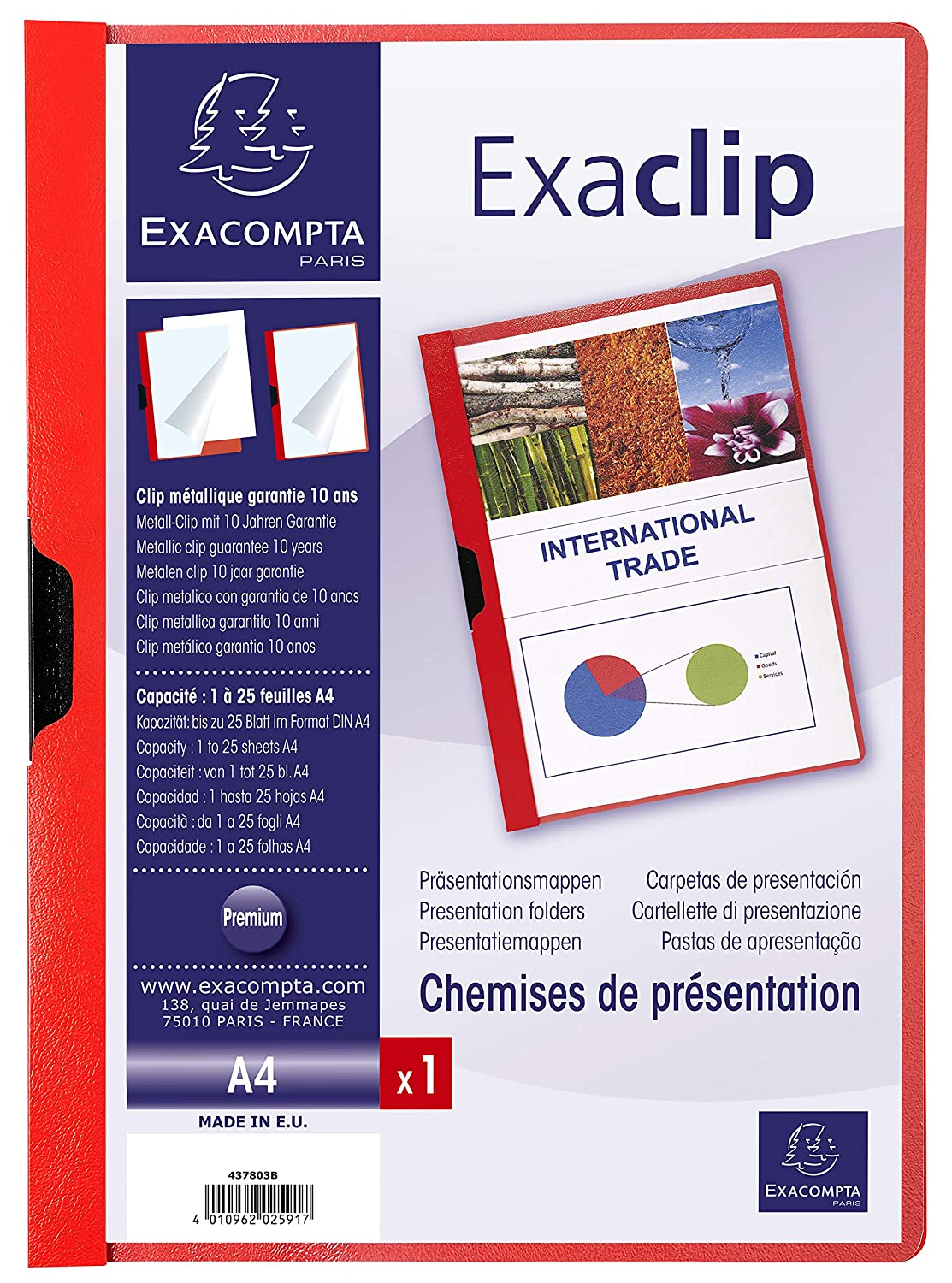 Exacompta 437803B - Carpeta, A4, color rojo: Amazon.es: Oficina y papelería