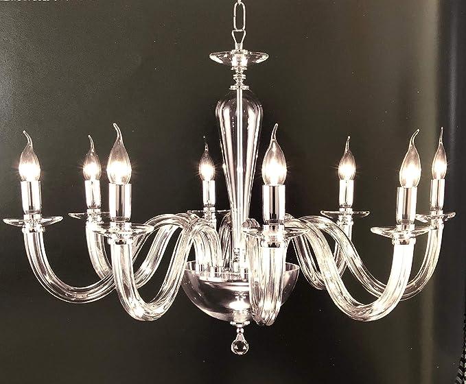 Italian Modern Chandelier in Transparent Murano Glass
