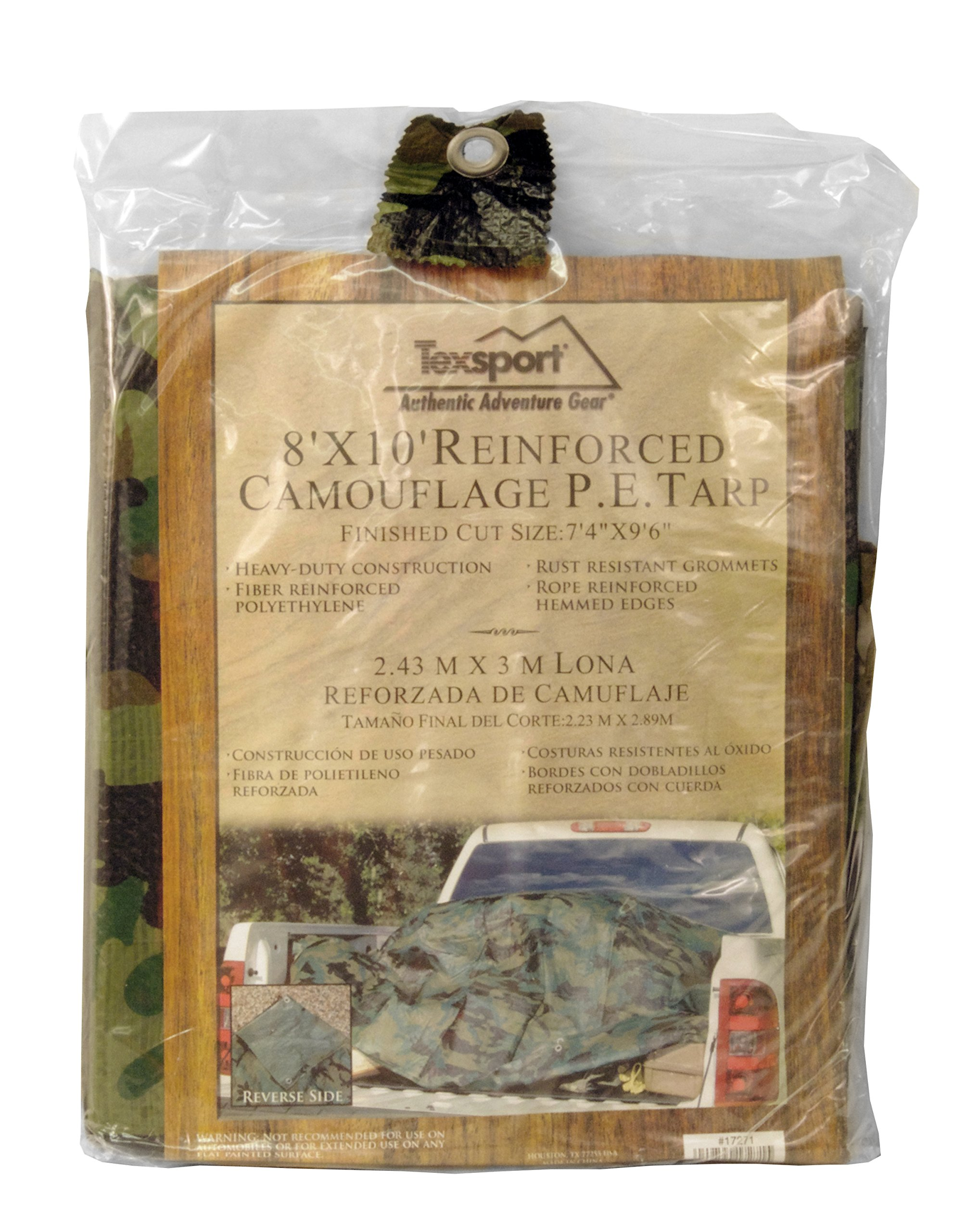 Texsport Heavy-Duty Reinforced Multi-Purpose Waterproof Reversible Camo Olive Drab Tarp by Texsport