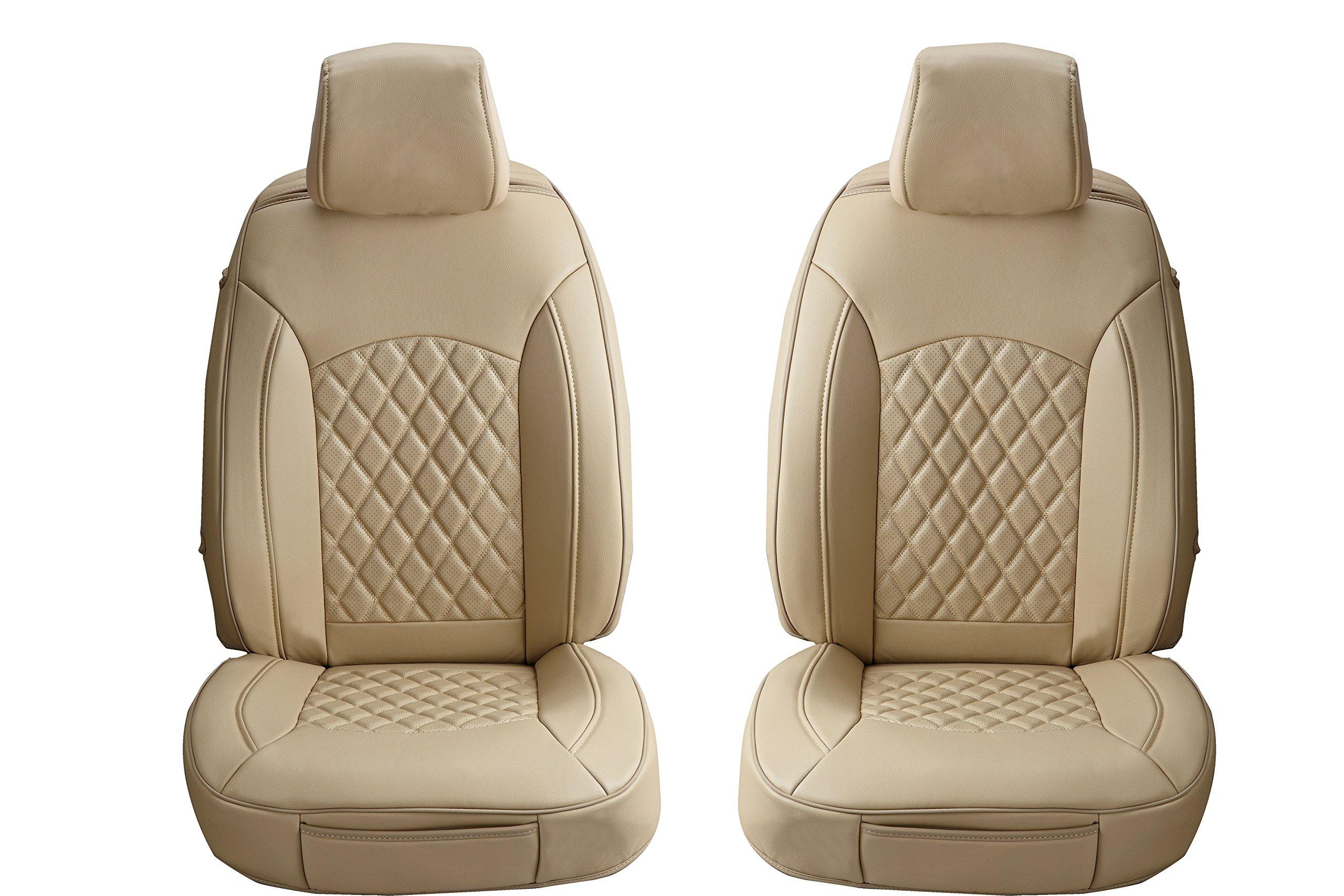Aegis cover PV001TAN Tan Universal 3D Design PVC/PU Seat Covers (A Pair for Compact Sedan)