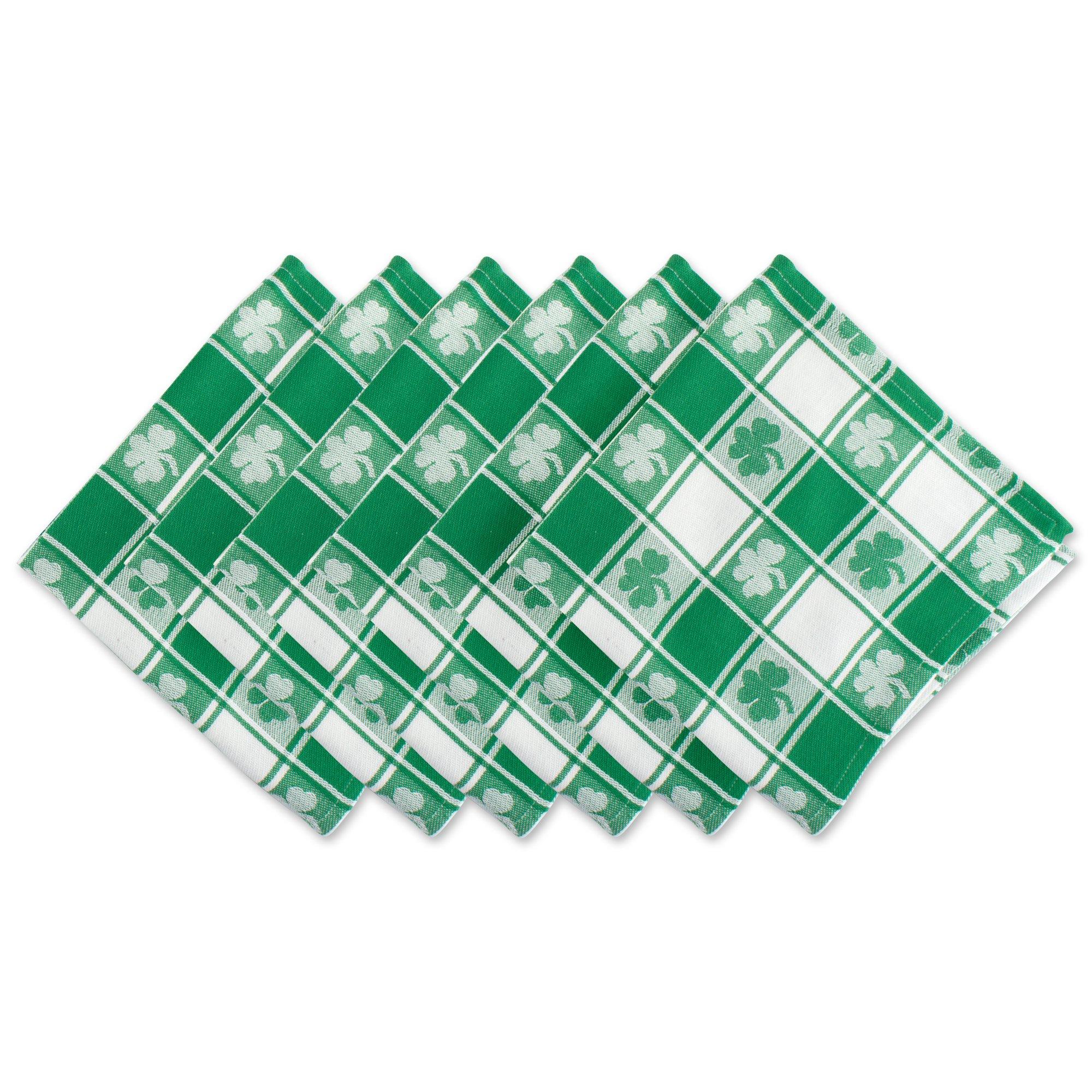 DII 100% Cotton, Oversized Basic Everyday 20x 20'' Napkin, Set of 6,  Green & White Check with Shamrock