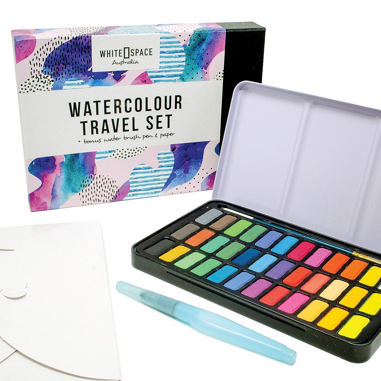 Now Watercolor Travel Set 36 Colours + Brush, Water Brush Pen + 8 Pieces 180gsm Cold Press Watercolour Paper Gift Box Australian Premium Professional Paint Adults Kids Ltd.