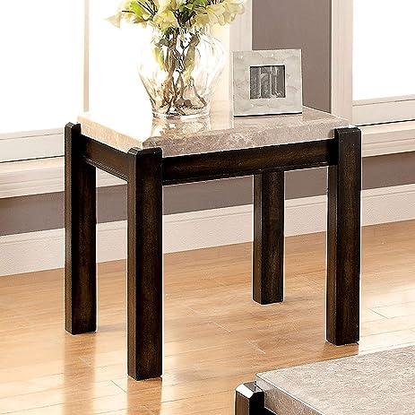 Amazoncom Furniture Of America Leslie Genuine Marble Top End Table - Genuine marble coffee table