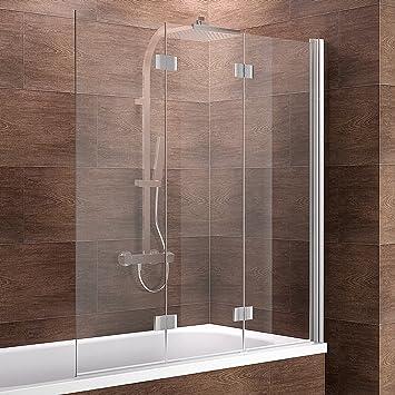 Schulte ducha pared Valet, 130 x 140 cm, 3 piezas, plegable, cristal de seguridad transparente 6 mm, perfil Color Cromo de Imitación, mampara para bañera: Amazon.es: Bricolaje y herramientas