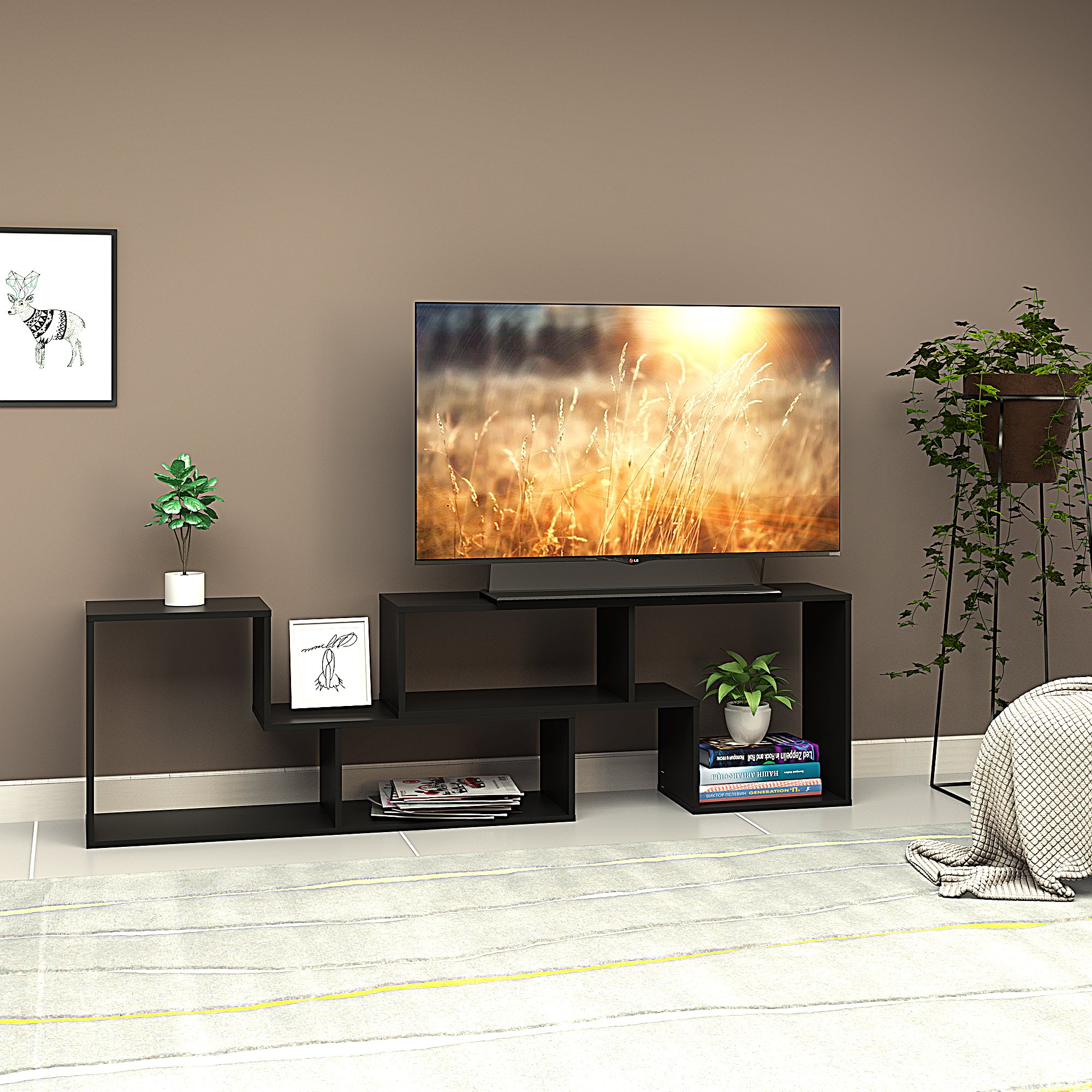 DEVAISE 2-Piece TV Stand - Television Console Cabinet for 22'' - 60'',Multifunctional Shelf - Black