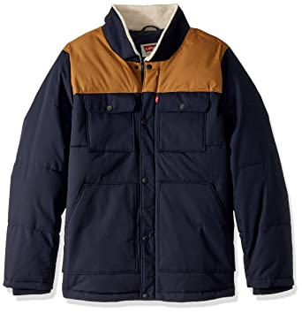 442d82bb9 Levi s Men s Tall Big   Tall Mixed Media Quilted Sherpa Shirt Jacket ...